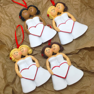 Bride & Bride Personalized Christmas Ornament / Women of Color Same Sex Couple / First Christmas