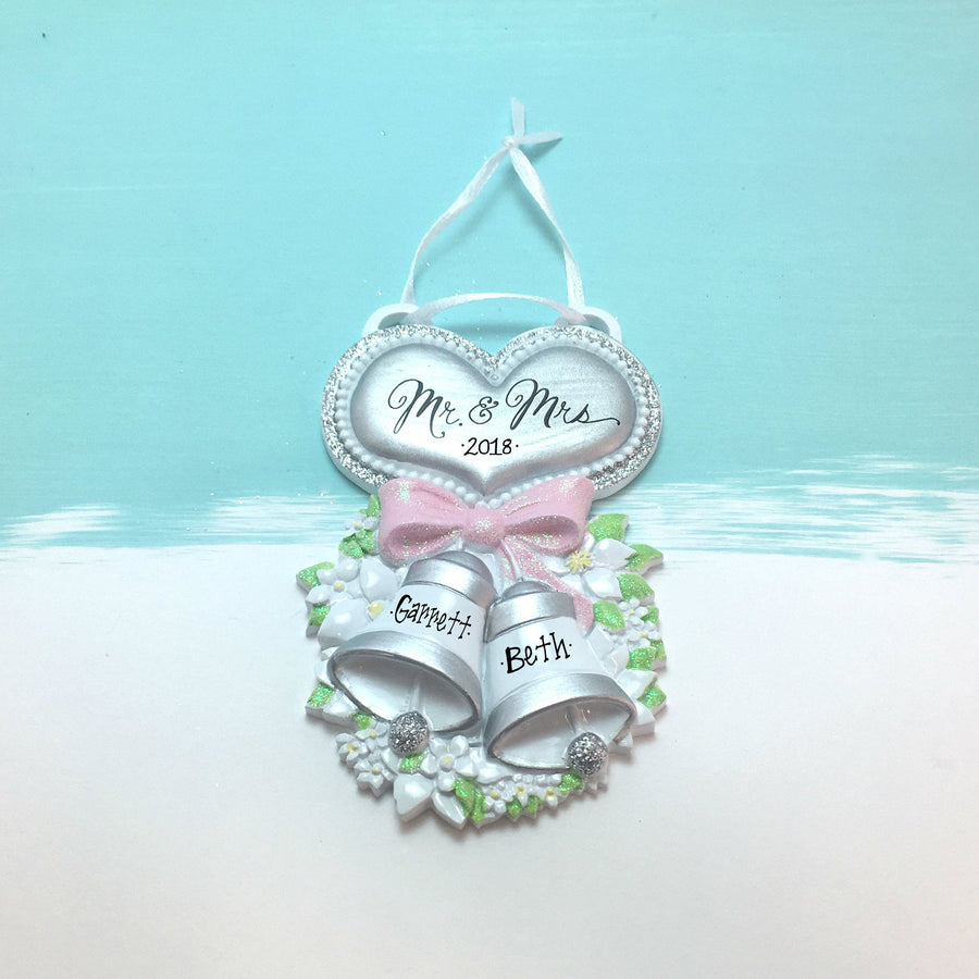 Mr. & Mrs. Silver Wedding Bells with Heart Personalized Christmas Ornament / Wedding Ornament / Our First Christmas / Gift for Her