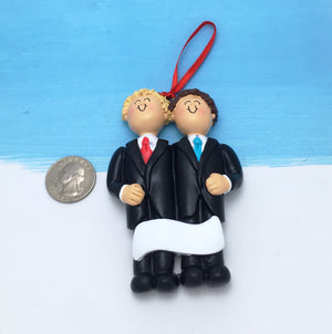 Grooms Personalized Christmas Ornament / Blonde and Brunette / Same Sex Male Couple / First Christmas / Personalized / Groomsmen / Partners