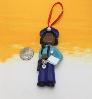 Police Woman of Color Personalized Christmas Ornament / Policewoman / African American Police Officer / Toddler Ornament / Child Ornament