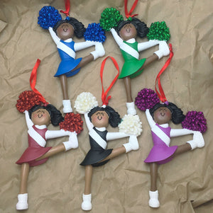 Cheerleader in Green Christmas Ornament / African American Cheerleader / Personalized  Ornament / Cheer Team