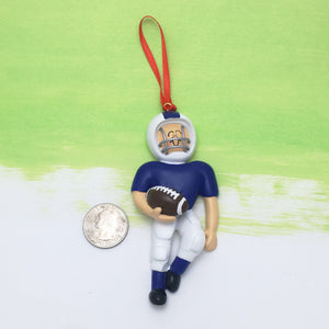 Quarterback in Blue Personalized Christmas Ornament / Caucasian Football Player / Football Team / Hand Personalized