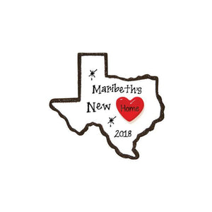 Texas State Personalized Christmas Ornament / Home is Where the Heart is