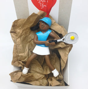 Female Tennis Player Christmas Ornament / African American Tennis Player Ornament / Tennis Star / Female Athlete