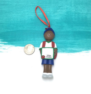 Boy's First Day of School Personalized Christmas Ornament / African American / Gift for kids