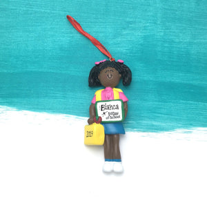 Girl's First Day of School Personalized Christmas Ornament / African American Girl / Gift for kids