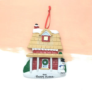 Brick House with Shingled Roof Personalized Christmas Ornament / New Home / First Home