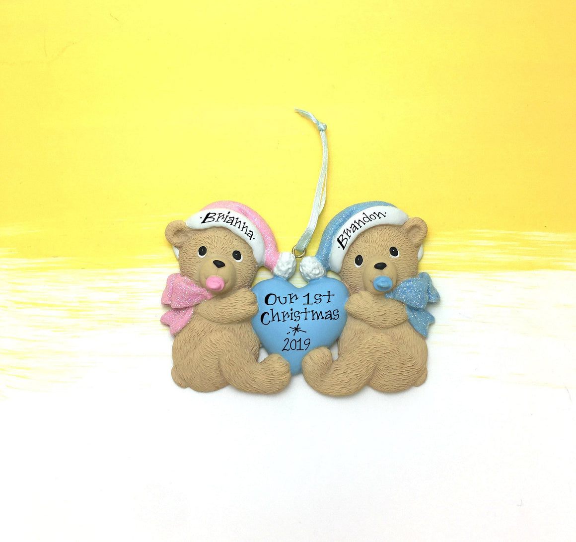 Baby Bear Twins First Christmas Ornament / Twins / Girl & Boy / Teddy Bears / Personalized Baby Ornament / Personalized Ornament / Baby Gift