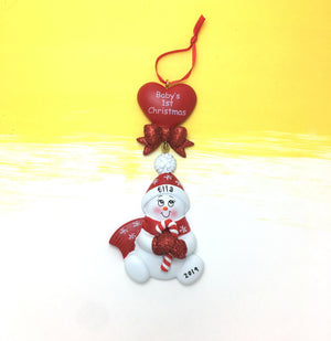Baby's First Christmas Personalized Christmas Ornament / Baby Snowman / Red and White