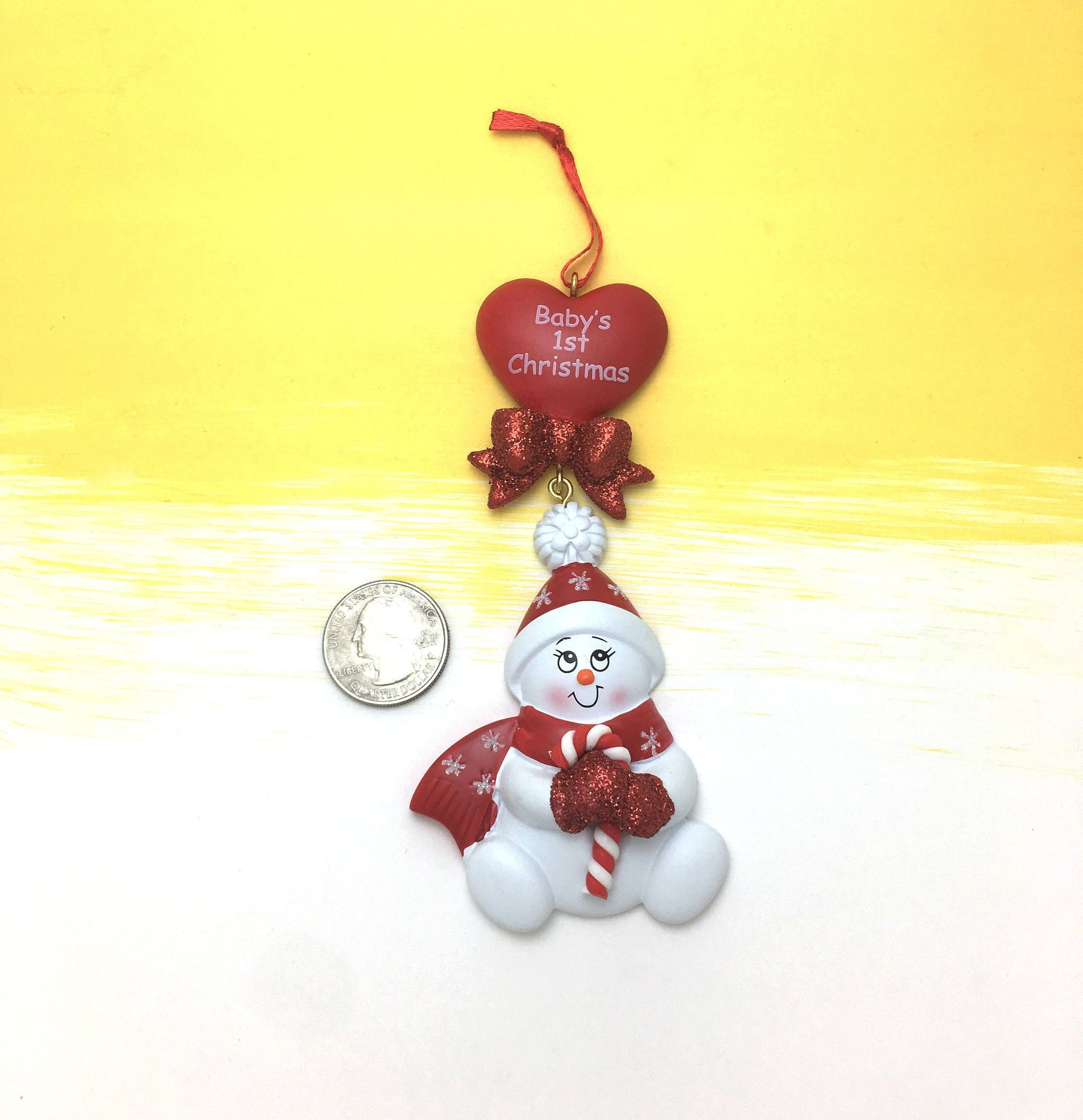 Personalised Christmas Bauble bays 1st Christmas foot shape 2018 any message