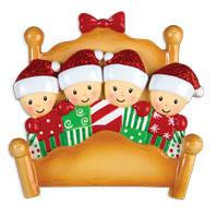 4 Tucked into Bed Personalized Christmas Ornament
