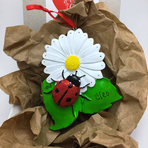 Ladybug on a Daisy Personalized Christmas Ornament / Child Ornament / Gift for kids