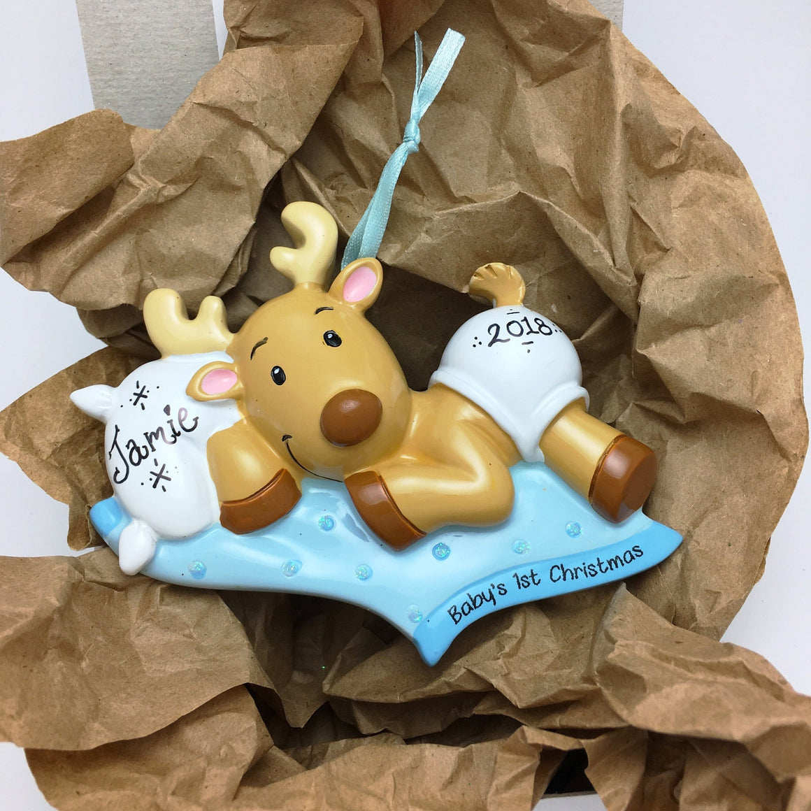 Baby Reindeer with Blue Blankie Personalized Christmas Ornament / Baby's 1st / Baby's First Christmas / Baby Boy / Hand Personalized