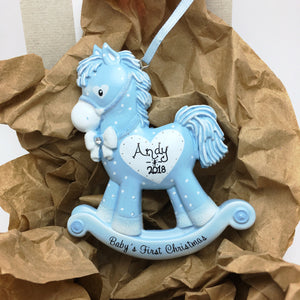 Blue Baby Boy Rocking Horse Personalized Christmas Ornament / Baby's First
