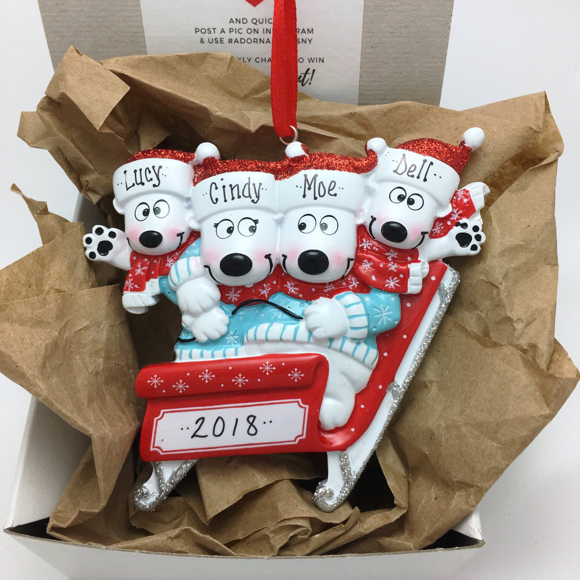 4 Polar Bears Sledding Personalized Christmas Ornament