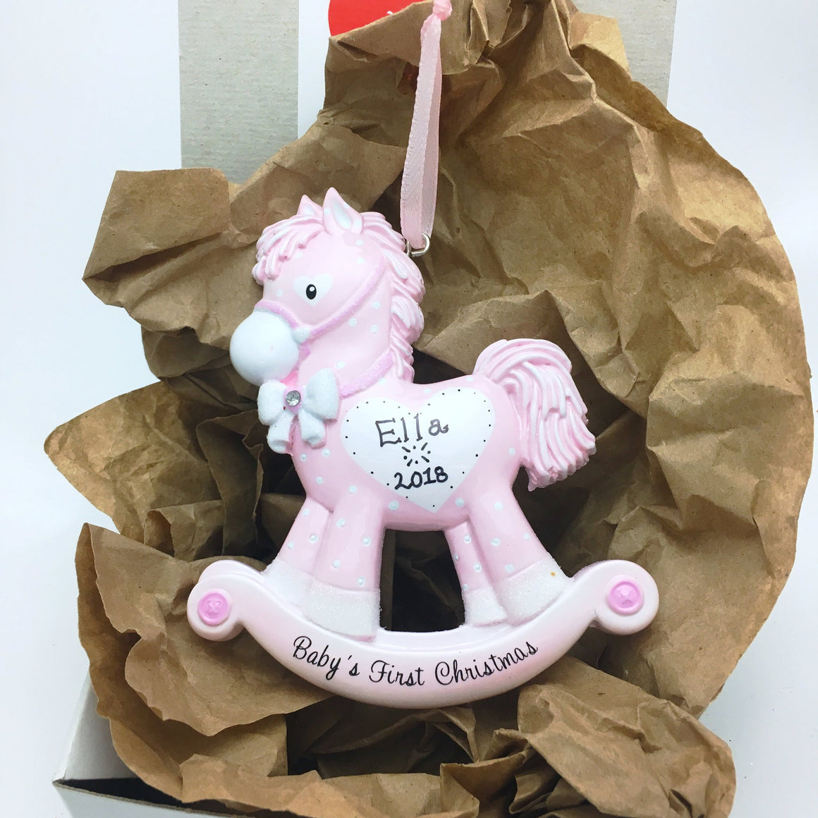 Pink Baby Girl Rocking Horse Personalized Christmas Ornament / Baby's First