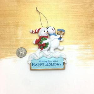 Happy Holiday Snowmen Personalized Christmas Ornament / Christmukkah Ornament