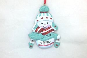 Best Big Sister Personalized Christmas Ornament / Sister Ornament / Snowman / New Baby / Hand Personalized