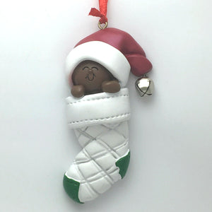 Brown Baby Personalized Christmas Ornament / African American Baby's First Christmas
