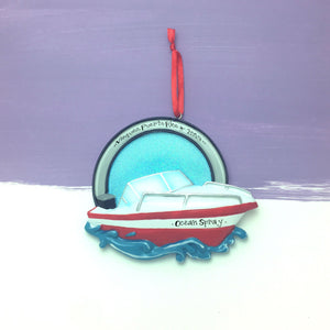 Speed boat Personalized Christmas Ornament / Red / Boat / Speedboat / Beach / Lake / Personalized Name or Message