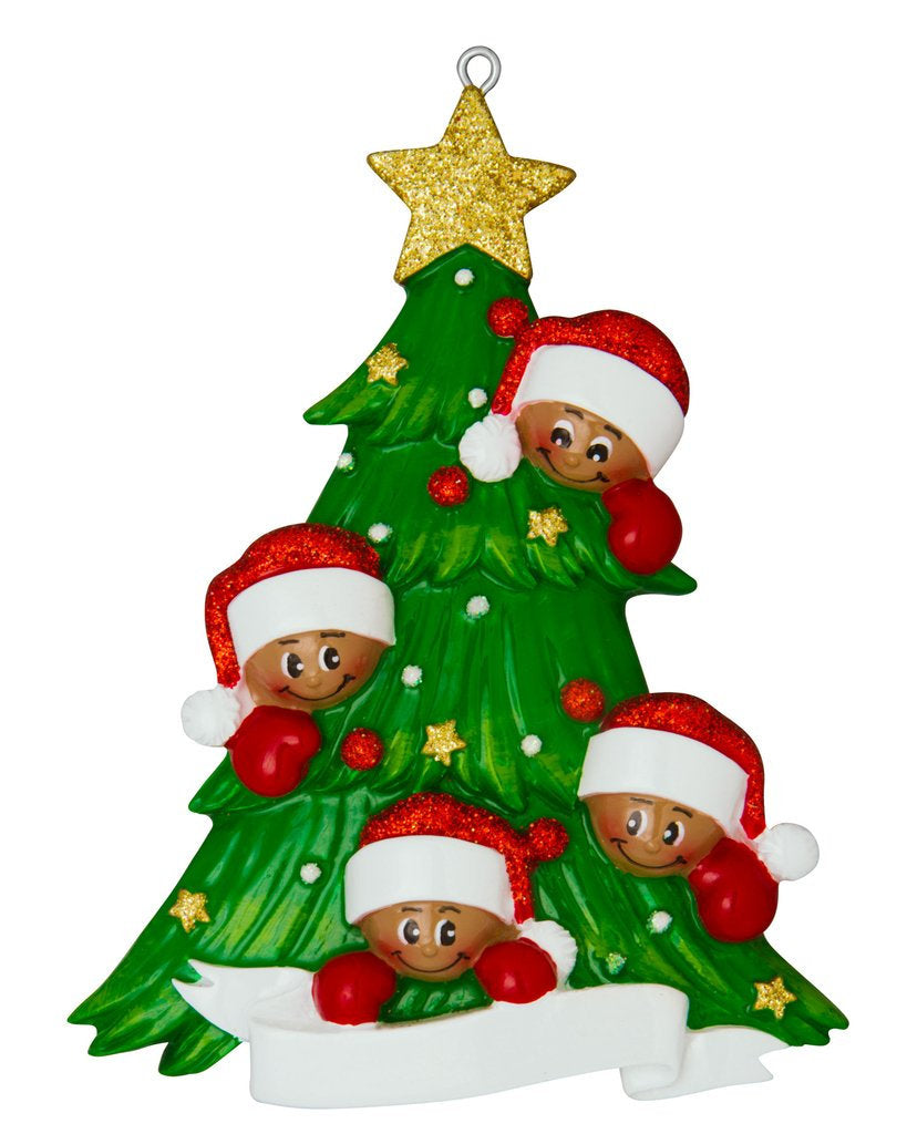 African American Family of 4 Around a Christmas Tree Personalized Ornament