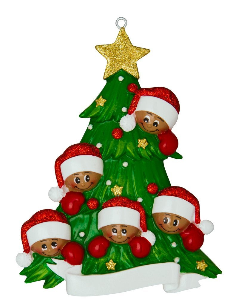 African American Family of 5 Around a Christmas Tree Personalized Ornament