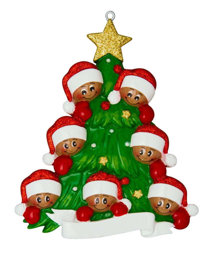 African American Family of 7 Around a Christmas Tree Personalized Ornament