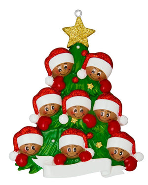 African American Family of 8 Around a Christmas Tree Personalized Ornament