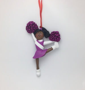 Cheerleader in Purple Christmas Ornament / African American  Ornament / Personalized  Ornament / Cheer Team