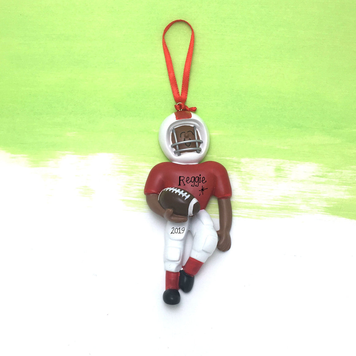 Quarterback in Red Personalized Christmas Ornament / African American Football Player / Football Team / Hand Personalized