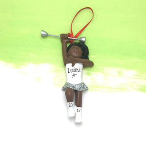 Majorette Christmas Ornament / African American Majorette Ornament / Personalized Christmas Ornament / Baton Twirling Ornament / Team Spirit