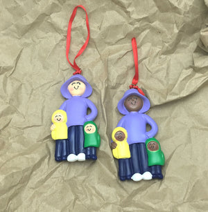Single Mom with Two Kids Personalized Christmas Ornament / Big Sister