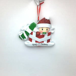 Baby in Christmas Present Personalized Ornament / Baby's First / Gender Neutral