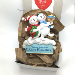 Happy Holiday Snowmen Personalized Christmas Ornament / Christmukkah Ornament / Secret Santa / Interfaith Holiday / Snowman