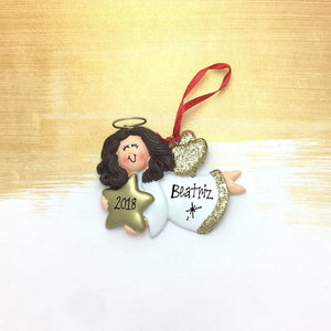 Angel Holding a Falling Star Ornament / Personalized Christmas Ornament