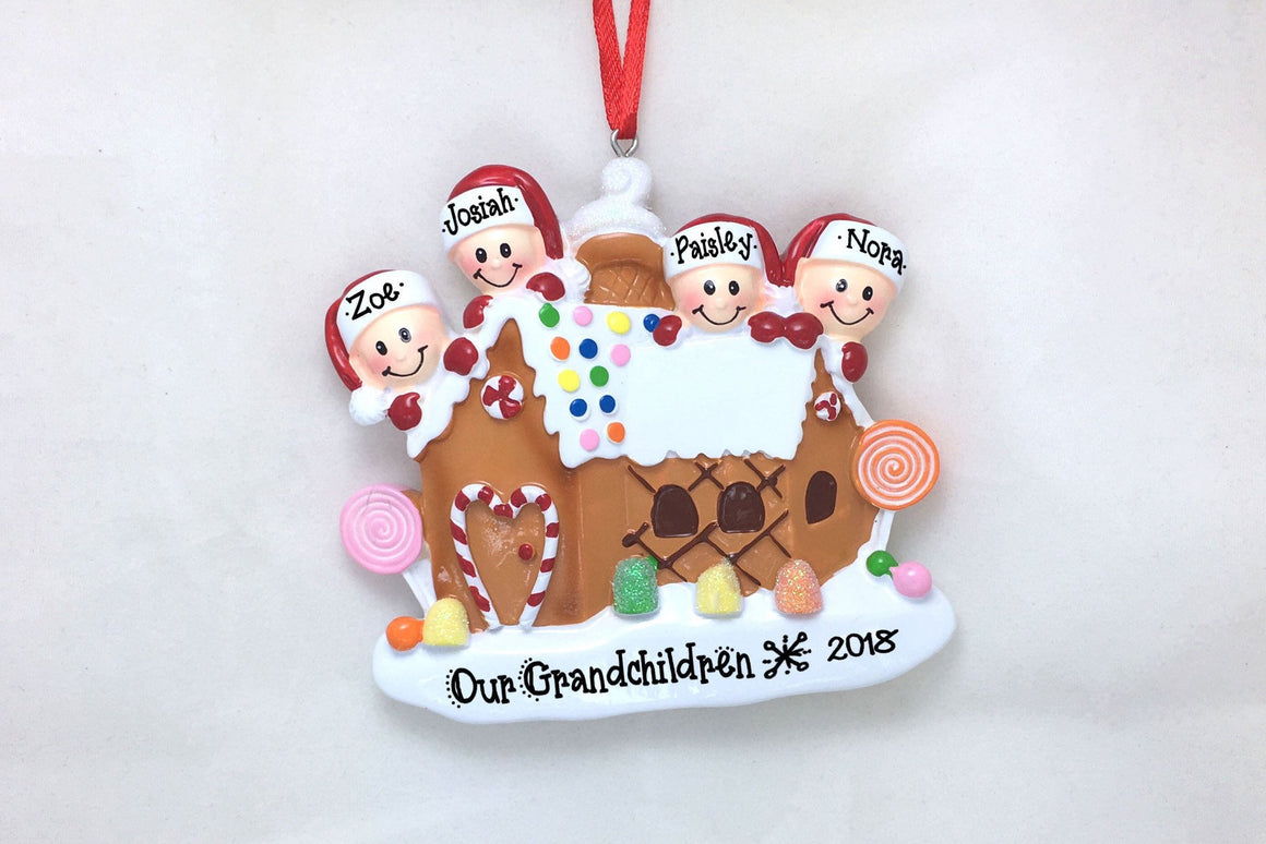 4 Happy Faces in a Gingerbread House Personalized Christmas Ornament
