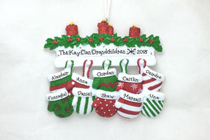10 Red and Green Mittens Personalized Christmas Ornament