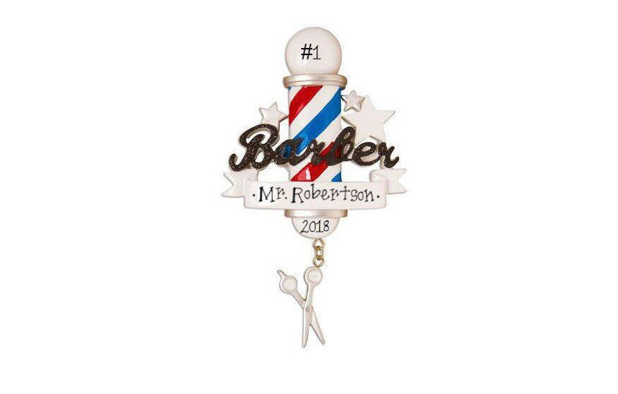 Barber Pole Personalized Christmas Ornament / Barber Shop Christmas Ornament