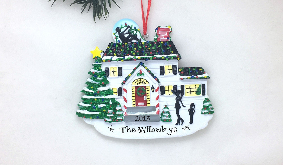 Hanging the Lights Personalized Christmas Ornament / Family Home Ornament