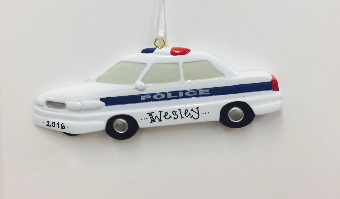 Police Car Personalized Christmas Ornament / Police Ornament / Toddler Ornament / Child Ornament