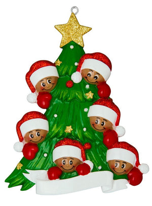 African American Family of 6 Around a Christmas Tree Personalized Ornament