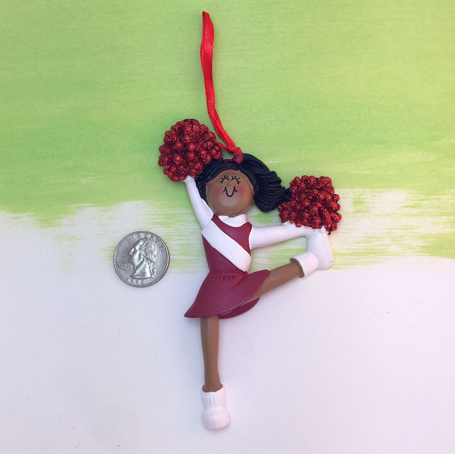 Cheerleader in Red Christmas Ornament / African American Cheerleader Ornament / Personalized Christmas Ornament / Cheer Team Ornament