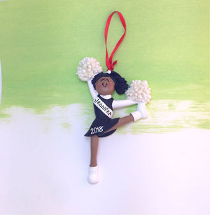Cheerleader in Black Christmas Ornament / African American Cheerleader / Personalized Ornament / Cheer Team