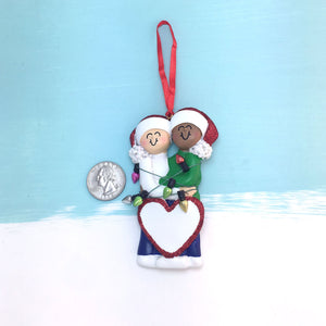 Happy Mixed Couple Tangled in Christmas Lights Personalized Christmas Ornament / White Female / Male of Color / Engaged / First Christmas