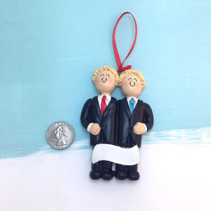 Grooms Personalized Christmas Ornament / Two Blondes / Same Sex Male Couple / First Christmas / Personalized / Groomsmen / Partners