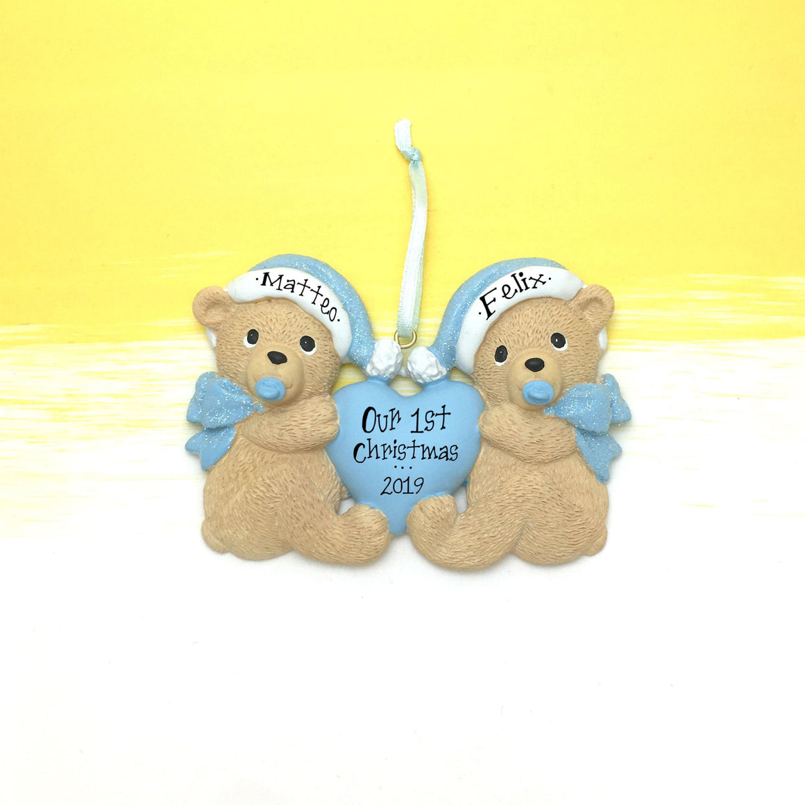 Baby Bear Twins First Christmas Ornament / Blue / Boy Twins / Teddy Bears / Personalized Baby Ornament / Personalized Ornament / Baby Gift