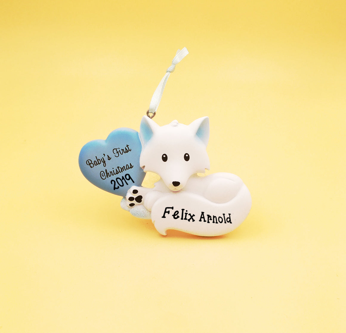 Baby Fox with Blue Heart Personalized Christmas Ornament / Baby's 1st / Baby's First Christmas / Hand Personalized