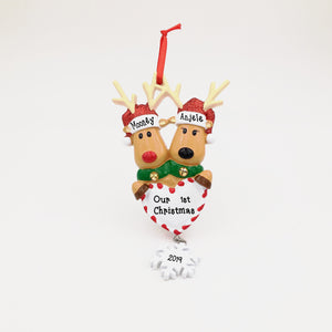 2 Reindeer with Heart and Snowflake Personalized Christmas Ornament