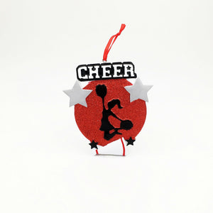 Cheerleader Medallion Christmas Ornament / Cheerleading Ornament Red and Black / Personalized Christmas Ornament / Cheer Team Ornament