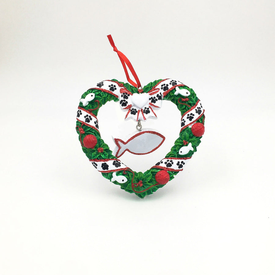 Cat Wreath Personalized Christmas Ornament / Kitten Christmas Ornament / Pet Christmas Ornament / New Kitty